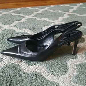 SERGIO ROSSI Black Leather Heels Sz 37/7